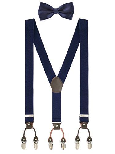 WANYING Herren Gentleman Klassisch 12 * 6,5cm Fliegen & 120 * 3,5cm Y-Form Hosenträger 2 in 1 Set Casual Business - Einfarbig Dunkelblau