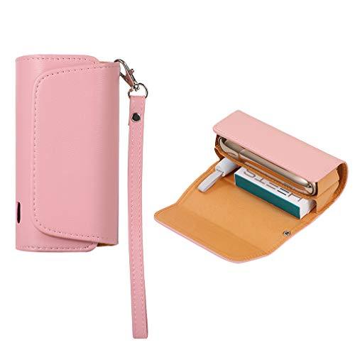 Preisvergleich Produktbild 2in1 Hülle für IQOS 3 DOU & Zigarette Pocket Charger - Case Kunstleder Schutzhülle,  Schutzhülle für IQOS 3 3.0 IQOS 3 DOU - Canvas + PU-Leder Rosa