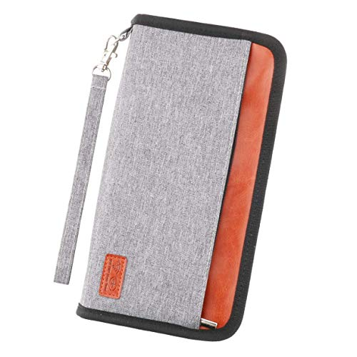 Idefair Travel Wallet Family Passport Holder,RFID Blocking Waterproof Document Organizer Case for Passports, ID Cards, Credit Cards, Flight Tickets, Money and Other Travel Accessories (Gray)