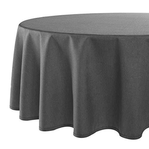 Tovaglia da tavola VIENNA antracite grigio, resinata antimacchia, adatta a tutto l'anno, rotonda 160 cm