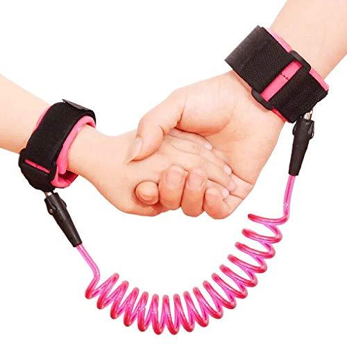 2.5 m Anti-Verlust-Handgelenk-Gürtel für Babys und Kleinkinder, Sicherheitsleine, Armband um 360 Grad drehbar, elastisches Drahtseil zum Laufen, Pink