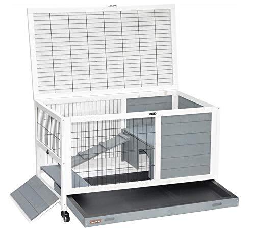 nanook Kleintierkäfig aus Holz - mit Rollfüßen - grau - mit Seitentür zur Freighege Verbindung - 90 x 53 x 60 cm