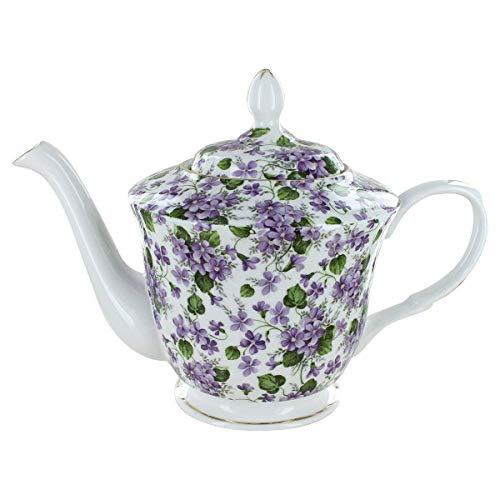 Gracie's Violets Bone China - 5 Cup Teapot