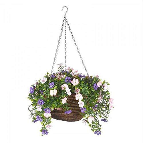 Smart Garden Petunia Hanging Flower Basket Artificial Outdoor Garden Decoration Weather UV Resistant