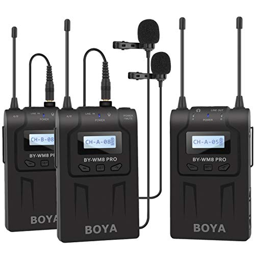 Boya BY-WM8 Pro-K2 Draadloos Lavalier-microfoonsysteem set dubbelkanaal voor professionele interviews opnames presentaties youtube videos met camera smartphones ENG EFP DSLR