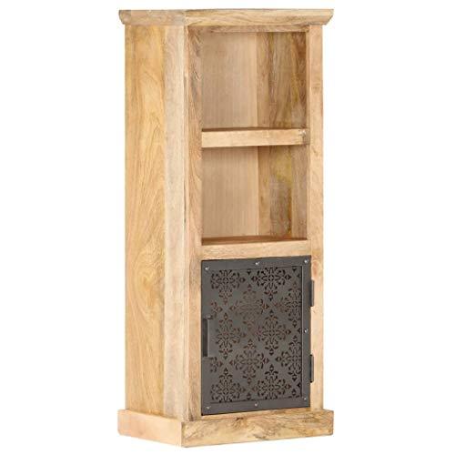 vidaXL Mangoholz Massiv Highboard mit Tür 2 Regalen Bücherregal Bücherschrank Standvitrine Vitrine Kommode Standschrank 45x32x110cm