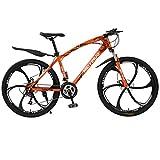 Fitfulvan Mountain Bike 21 Speed Gears 26 inch Bike Double Disc Brake Bicycles with High Carbon Steel Mountain Bike Dual Suspension Frame, MTB Bikes Six-Knife Wheel, Orange