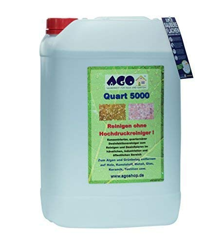 AGO® Quart 5000 Grünbelag Entferner I Chlorfrei & Säurefrei I 25L Flechten & Algen Entferner Reiniger-Konzentrat für 5000qm