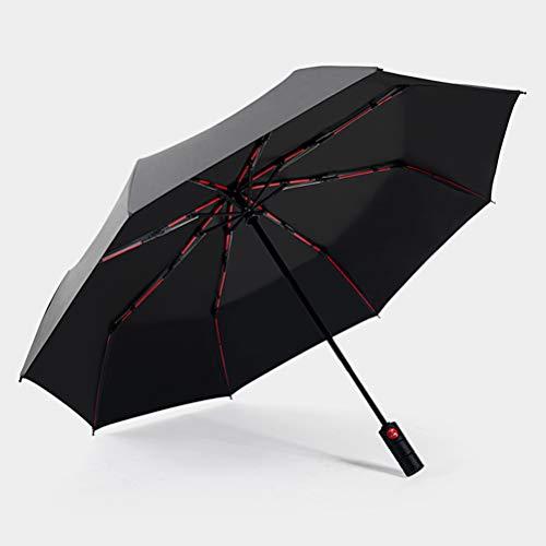 Anti-Storm Volautomatische Grote Paraplu, Men's Bescherming Tegen De Zon Zaken 3 Voudig Parasol Met Sterke Waterafstotendheid En Rood Fibre Skelet [10 Paraplu Bot],Gray