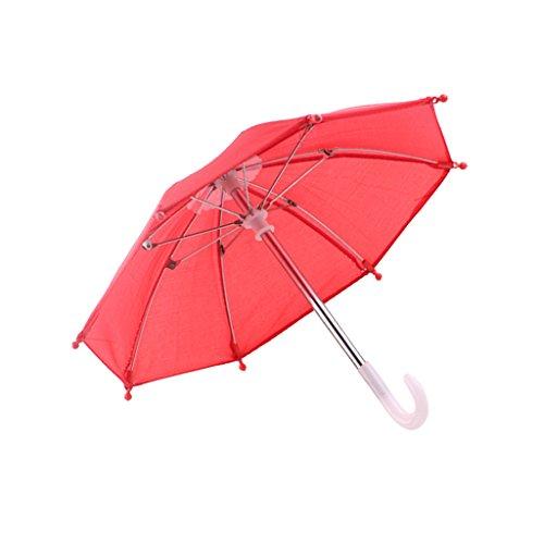 Gazechimp Mini Puppe Schirm Stockschirm - Puppenzubehör für 18 Zoll Puppen - Rot / Rosa - Rot