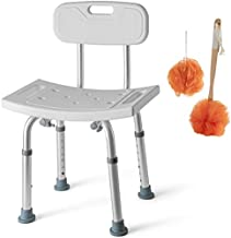 Shower Chair Set of 3 - Includes Back Scrubber & Additional Sponge - Anti Slip for Safety, with 8 Adjustable Heights Portable - Tool Free Shower Chair for Elderly - Bath Chair for Elderly