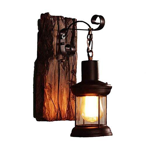 Vintage Schmiedeeisen Wandlampe Segeln Holz Wand Industrie Retro Indoor und Outdoor Home Style alte Wandlampe (ohne Glühbirne) [Energieklasse A ++]