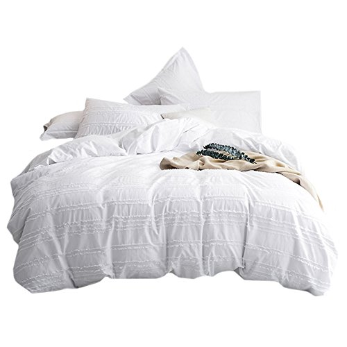 UMI. Essentials 100% Cotton Woven Cutting Stripes Duvet Cover Set with One Pillow Case, 155 x 220 cm