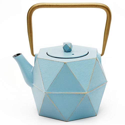 Tea Kettle, TOPTIER Japanese Cast Iron Teapot with Stainless Steel Infuser, Cast Iron Tea Kettle Stovetop Safe, Diamond Design Teapot Coated with Enameled Interior for 40 oz (1200 ml), Blue