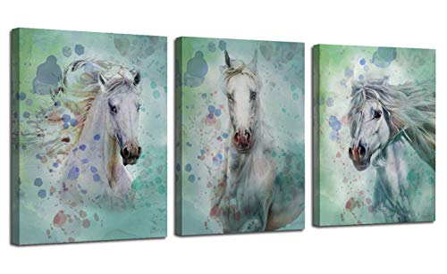 Arjun Canvas Wall Art White Horses Watercolor Painting Prints Modern Pictures, Animals 12'x16' x3 Panels Stretch and Framed Artwork for Bedroom Living Room Kitchen Dinning Room Home Office Decor