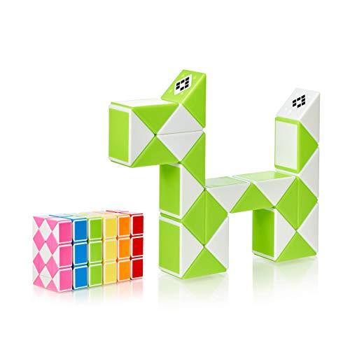 CUBIDI® Magic Snake mit 24 Blöcke - Knobelspiele für Kinder und Erwachsene - ideal als Mitgebsel Kindergeburtstag oder Kindergeburtstag Gastgeschenke oder kleine Geschenke für Kinder (Grün)