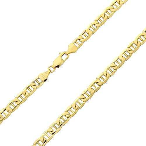 14 Karat / 585 Gold Italienisch Flach Mariner Kette Gelbgold - Breite 3.10 mm - Länge wählbar (40)