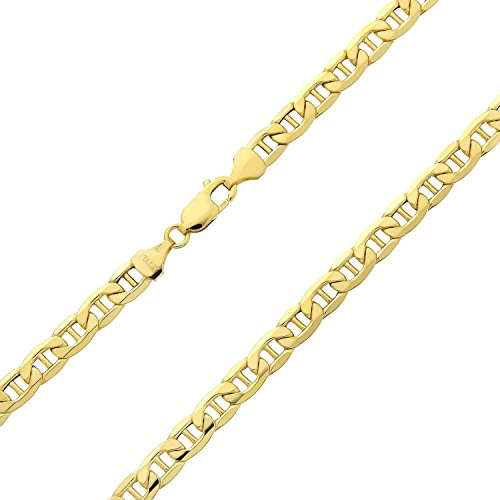 14 Karat 585 Gold Italienisch Flach Mariner Kette Gelbgold - Breite 3.10 mm - Länge wählbar (70)