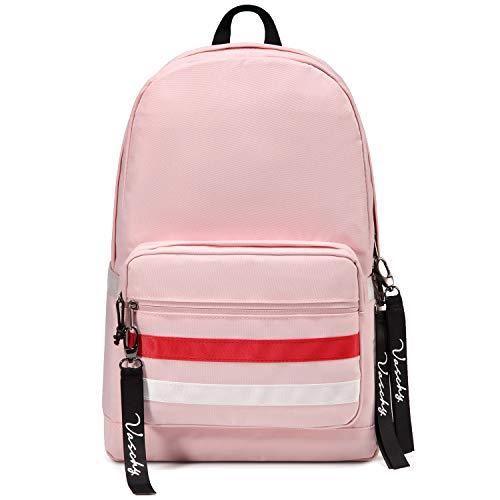 School Backpack, Vaschy Lightweight School Bag for Teen Girls Water Resistant Rucksack Fits 15.6In Laptop for Travel, Outdoor with Bottle Pockets, Pink