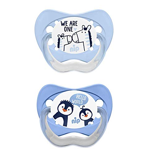 NIP Soother Family orthodontically correct: Reduces pressure on teeth & jaw, Made in Germany, BPA-free, Size 1, 0-6 months silicone, Boy
