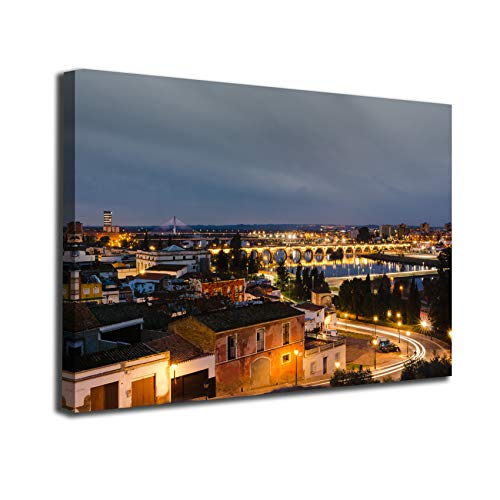 Desconocido Cuadro Lienzo Canvas Panoramica Caso Antiguo Badajoz Luces Puente Extremadura – Varias Medidas - Lienzo de Tela Bastidor Madera de 3 cm - Impresion Alta resolucion (100, 66)