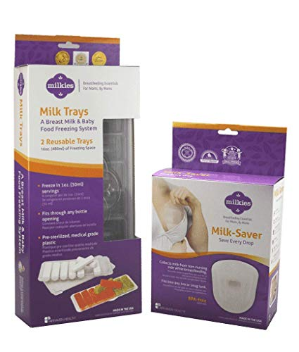 Milkies Milk-Saver and Milk Trays Breastfeeding Bundle to Save and Store Leaking Breast Milk