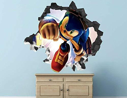 Pegatinas de pared Hedgehog calcomanía de pared decoración niños aplastados calcomanía 3d arte vinilo