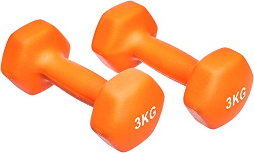 Amazon Basics Neopren Hanteln Gewichte, Orange, (2er-Set), 2 x 3Kg