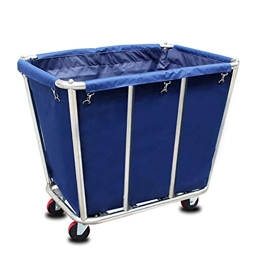MJY Wagenrecyclingfahrzeuge, Edelstahl-Handelswagen mit Rädern Hochleistungs-Rollwäschewagen für Industrie- / Haushalts- / Wäschekorb, Sammelfahrzeuge,Blau