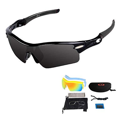 V VILISUN Occhiali da sole polarizzati sportivi con 5 lenti intercambiabili per uomo donna ciclismo occhiali UV400 leggeri in ciclismo, pesca, corsa, guida, golf (tutto nero)
