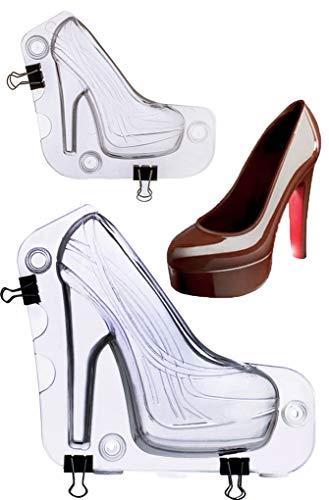 Moldes zapato reposteria, Chocolate molde de 3D Zapatos de Tacón Alto, para DIY Gelatina, Postre, Dulces, Magdalena, Pastel, Helado, Decoración de pudín (B)