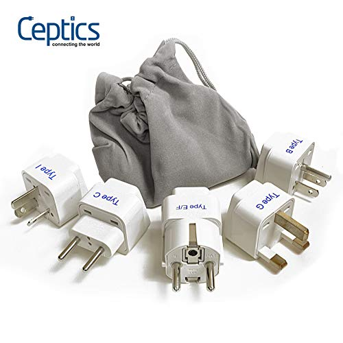Ceptics Adapter Plug Set for World Wide International Travel Use - Grounded Safe - Works with Cell Phones, Chargers, Batteries, Camera, and More