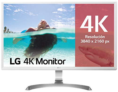 "LG 27UD59-W - Monitor 4K UHD de 68,6 cm (27"") con Panel IPS (3840 x 2160 píxeles, 16:9, 250 cd/m², NTSC >72%, 1000:1, 5 ms, 60 Hz) Color Blanco"