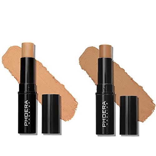 2 Pack PHOERA Foundation Stick, Shading Contour Stick for Makeup that Effortlessly Covers Contours, Provides Pleasant Wearing Comfort. Waterproof Long-lasting Effect. (205# Wheat&206# Suede)