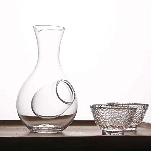 Dongbin Kreative Japanische Art-Glas-Wein-Flasche Decanter, Daumenloch Sake Glas Ice Krug Hamster Nest Kühlraum Wein Pourers Decanter Set,Glass