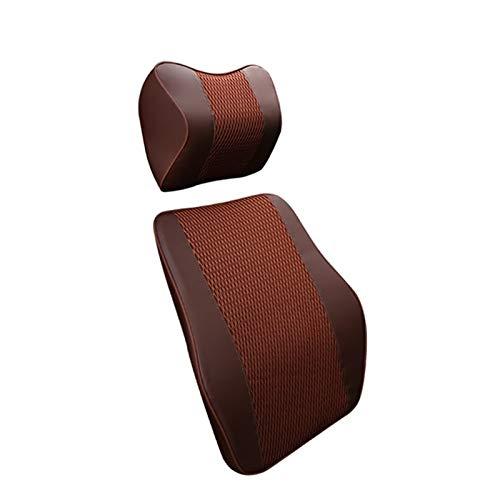 JINQIANSHANGMAO Reposacabezas Cabeza de Caza del Coche Espuma de Espuma de Cuero Artificial Almohada Almohada Four Seasons Supplies Suplicaciones de Almohadas de automóvil (Color : Brown 1 Set)