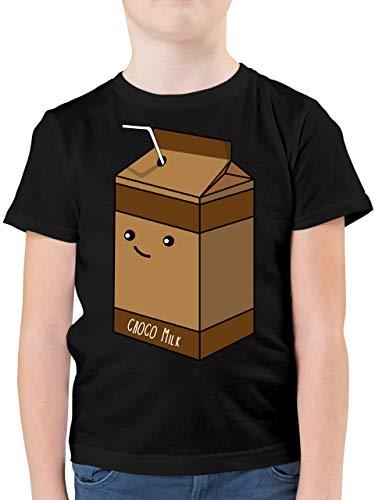 Karneval & Fasching Kinder - Partnerkostüm Schokoladenmilch - 104 (3/4 Jahre) - Schwarz - F130K - Kinder Tshirts und T-Shirt für Jungen