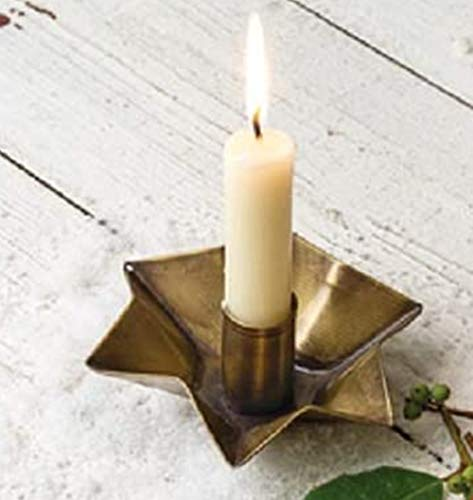 4 Pack | Antique Brass Star Candle Holder | 4.5 x 1.5 Taper Candle Holder | Country Primitive Décor |