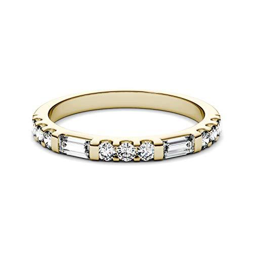 Charles & Colvard Moissanite By Charles & Colvard anillo grande - Oro amarillo 14K - Moissanita de 4.0 mm de talla baguette, 0.502 ct. DEW, talla 12