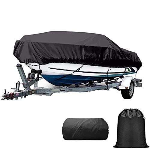 LDIW Funda para Barco 11-27FT Trailerable Barco Pesado 300D Tela Oxford Intemperie Resistente a los Rayos UV con Revestimiento de PVC Forma de V Cubierta de yate,11to13ft