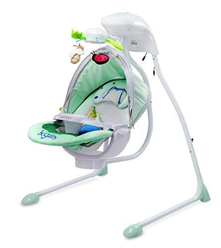 CARETERO Bugies Babyschaukel Babywippe Schaukelwippe drehbarer Sitz Timer elektronisches Mobile mit Lichern, Farbe: Mint