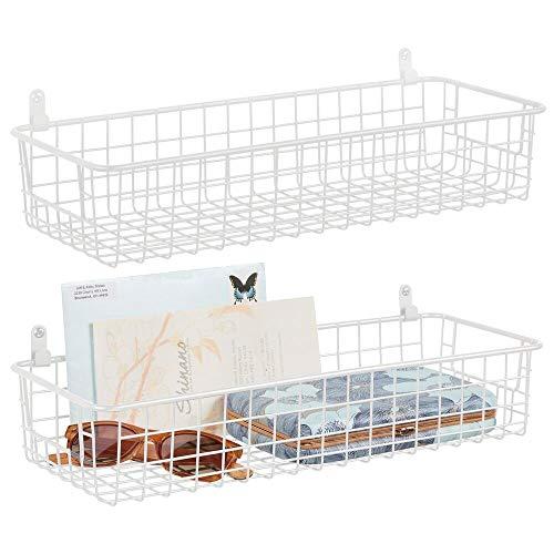 mDesign Juego de 2 estantes de Pared de Metal – Estantería de Rejilla pequeña para Pasillo, Dormitorio y demás – Organizador de Cartas, Carteras, Gafas de Sol o Accesorios de baño – Blanco
