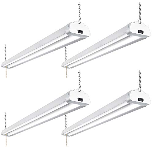 Hykolity 4FT 42W LED Shop Light Linkable, 5000K Daylight 4200lm Shop Lights for Garage, Workshop, Basement, Hanging or FlushMoun with Plug and Pull Chain, ETL Listed- 4 Pack