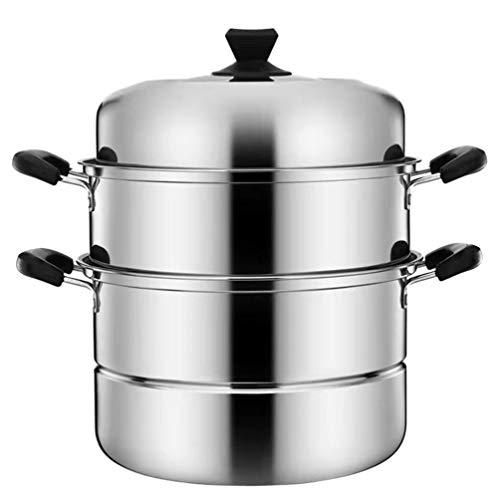 PIXNOR Olla de Vapor de Acero Inoxidable Utensilios de Cocina Multiusos Olla de Vapor de 3 Niveles para Cocinar Al Vapor (26 CM)