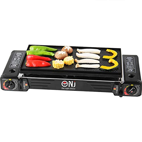 NJ SG-2 Camping Gas Stove Double Burner Portable Cooker Butane BBQ Outdoor + Grill Plate & CASE