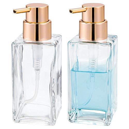 mDesign Juego de 2 dispensadores de jabón rellenables – Dosificadores de jabón cuadrados de cristal y plástico – Ideal dosificador de baño o cocina con 414 ml de capacidad – transparente/color cobre