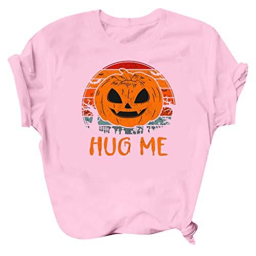 ReooLy Halloween, Camiseta de Blusa con Cuello Redondo y Man