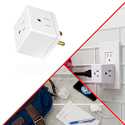 GE Wall Tap, 1, Extra-Wide Adapter Spaced, Easy Access Design, 3 Prong Outlet, Perfect for Travel, UL Listed, White, 58368