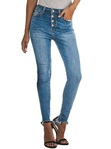 Minetom Mujer Pantalones Vaquero Skinny Push Up Pantalones Elástico Jeans Cintura Alta Slim Skinny Denim Pants Leggins con Bolsillos