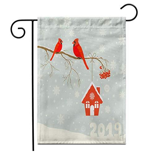 12.5 'x 18' Bandera de jardín Lindo pájaro Cardenal Rojo con pajarera...